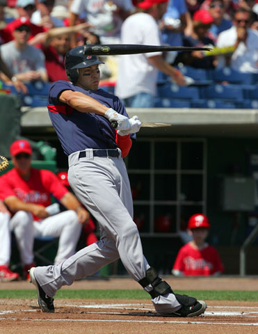 Jacoby Ellsbury of the Red Sox breaks his bat